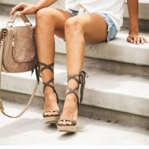 Vici Ankle Wrap Wedge Espadrilles Olive New